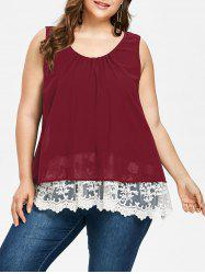 Plus Size Lace Trim Scalloped Tank Top -