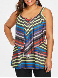 Ruffle Plus Size Striped Cami Top -