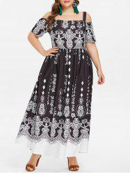 Cold Shoulder Plus Size Ethnic Print Maxi Dress -