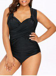 Back Criss Cross Plus Size Ruched Swimwear -