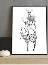 Deer Print Canvas Painting with Frame -