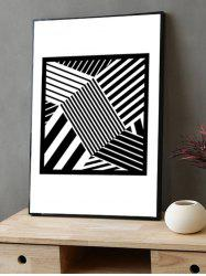 Striped Print Canvas Painting with Frame -