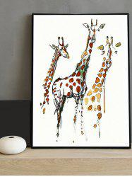 Giraffe Print Canvas Painting with Frame -