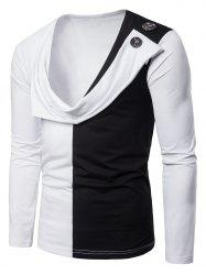 Layered Button Decorated Tee Shirt -
