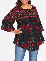 Plus Size Floral Smocked Waist Blouse -