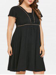 Lace Up Plus Size Knee Length Dress -