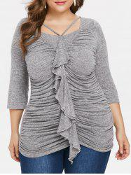 Plus Size Ruffle Trim Ruched T-shirt -