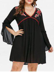 Plus Size Flare Sleeve Embroidered Mini Dress -