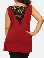 Twist Front Plus Size Lace Panel Top -
