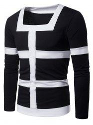 Square Neck Patchwork Stripe Tee -