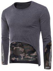 Mesh Camouflage Hem Patchwork Low High T-shirt -