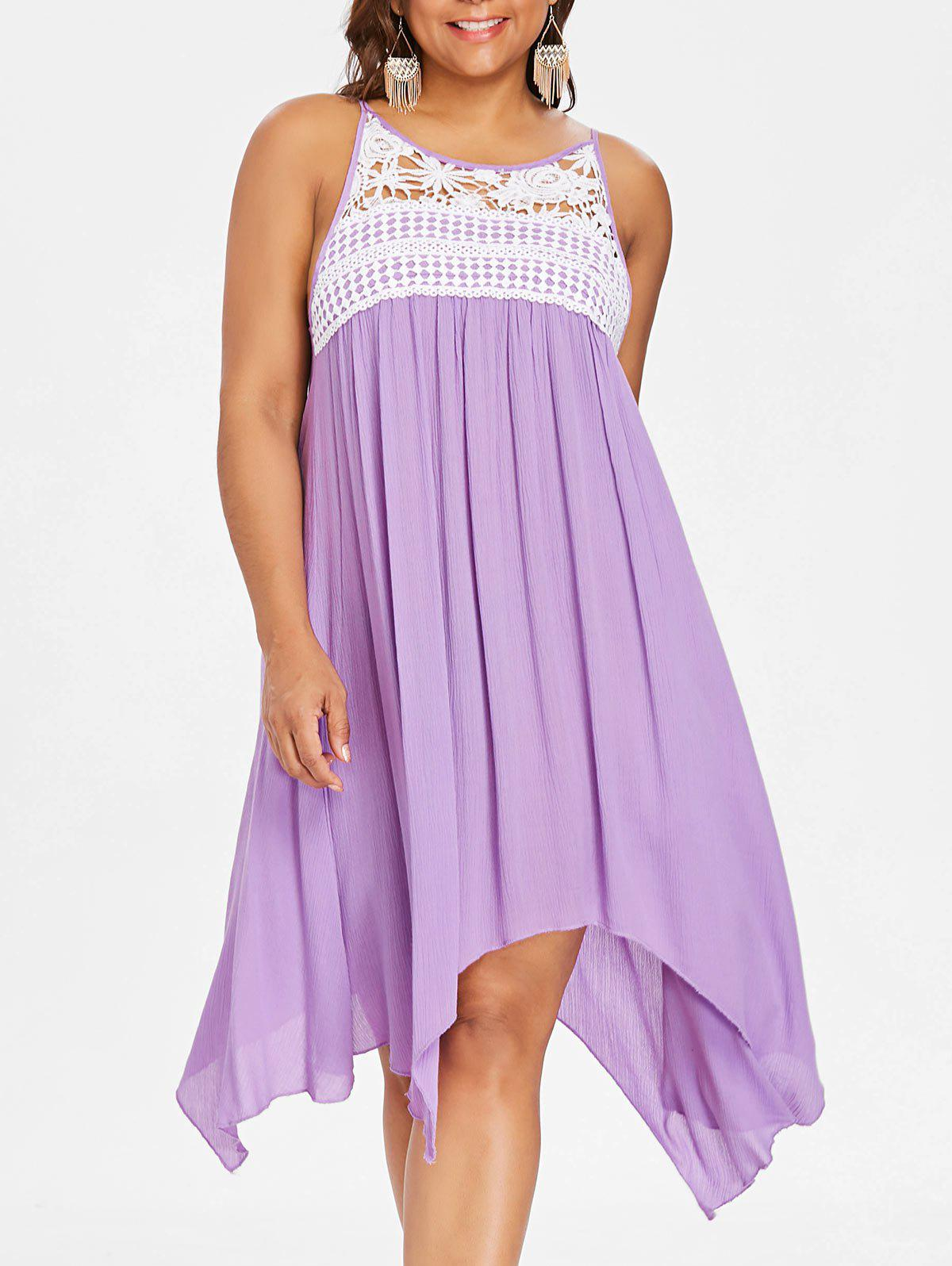 Lace Panel Plus Size Asymmetrical Slip Dress