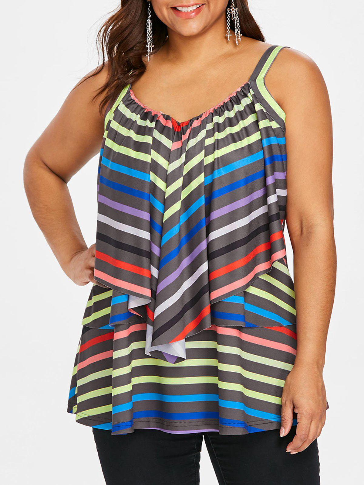 Sale Ruffle Plus Size Striped Cami Top