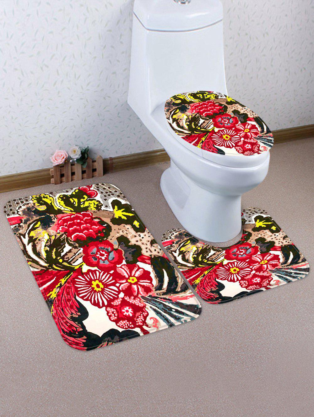 Discount Flower Pattern 3 Pcs Bath Mat Toilet Mat