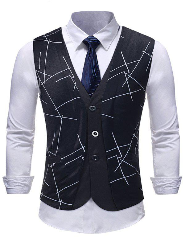 Fashion Slim Fit Adjustable Buckle Untidy Lines Printed Vest