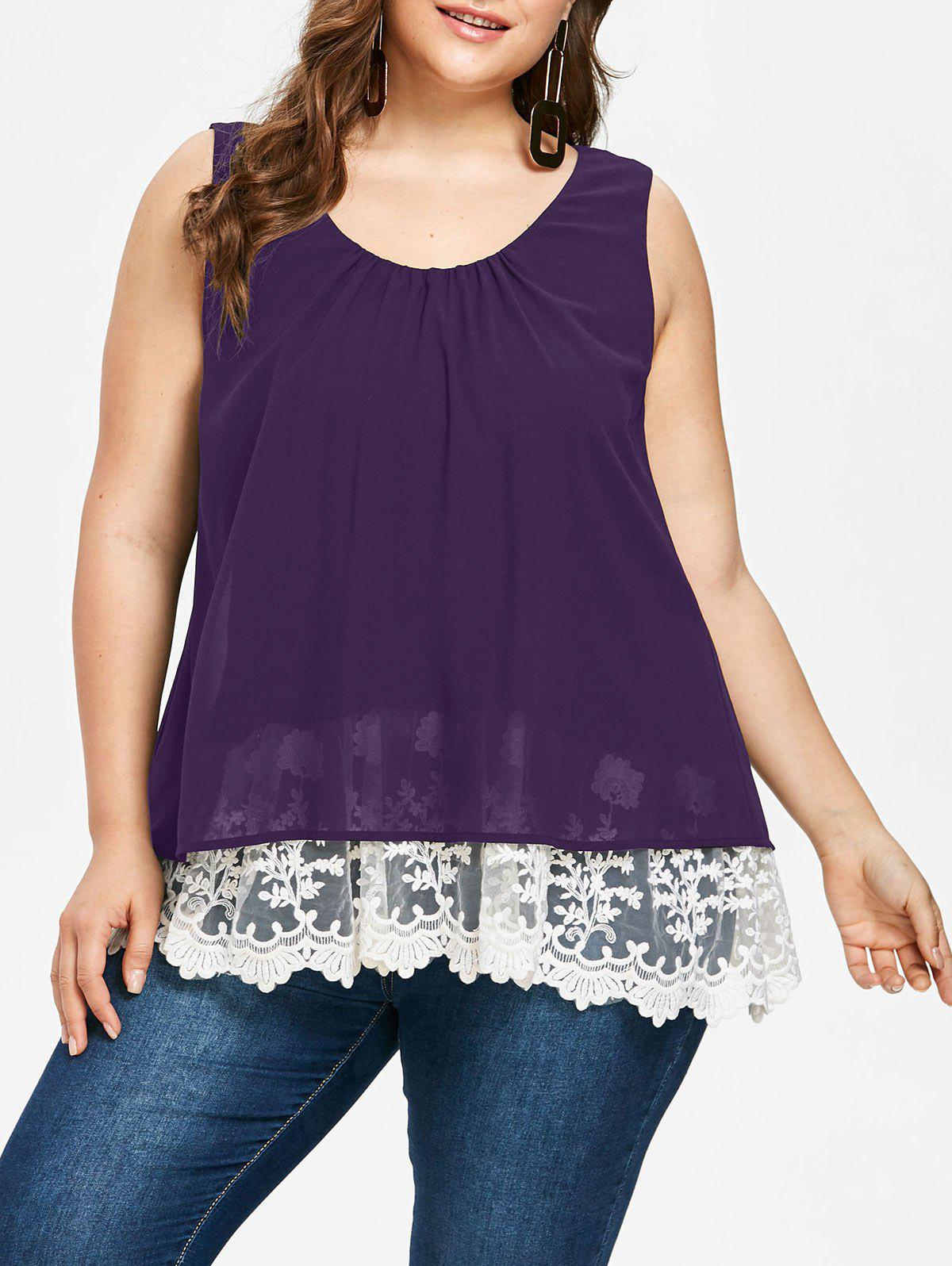 Outfit Plus Size Lace Trim Scalloped Tank Top