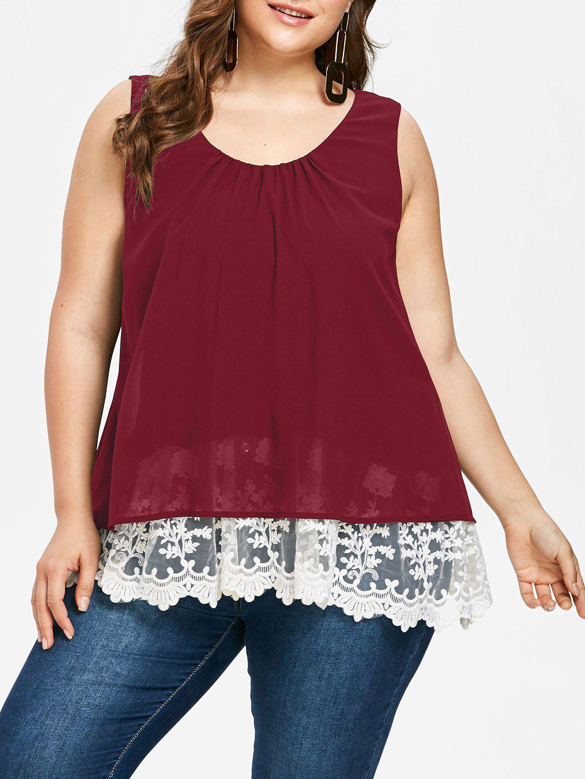 Discount Plus Size Lace Trim Scalloped Tank Top
