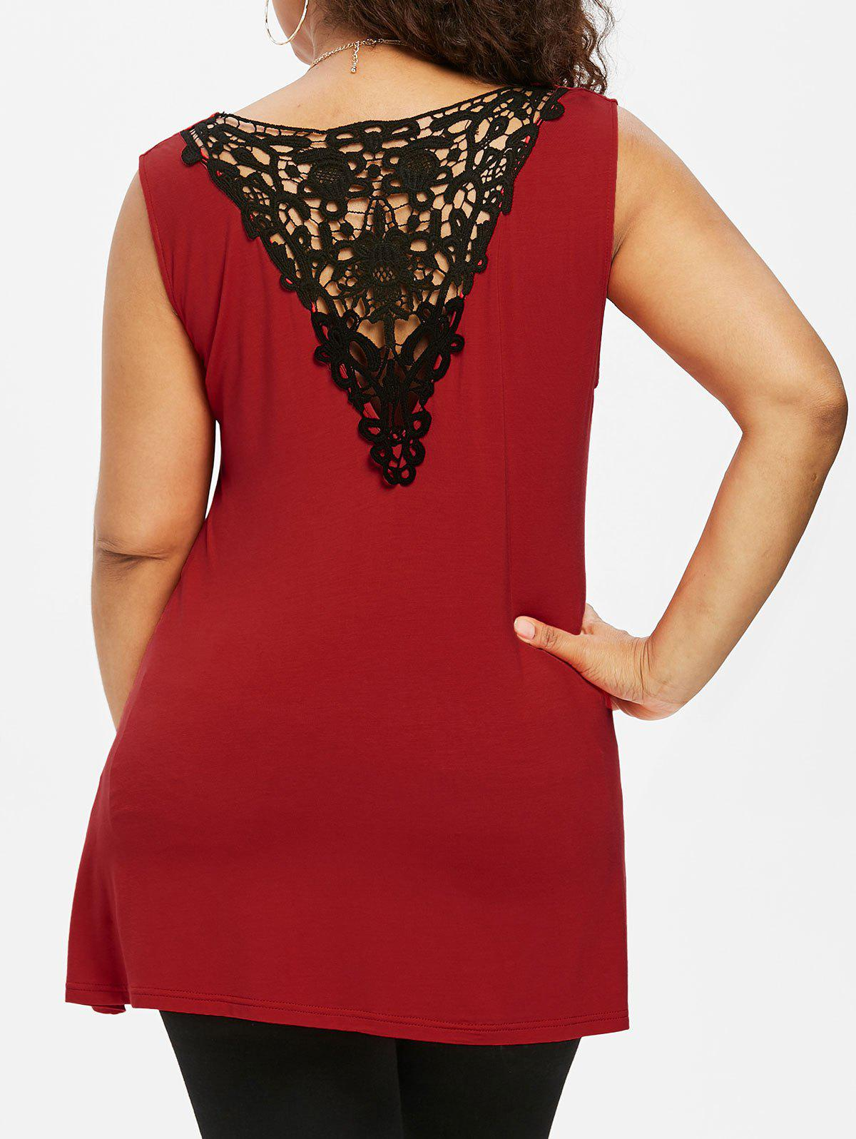 New Twist Front Plus Size Lace Panel Top
