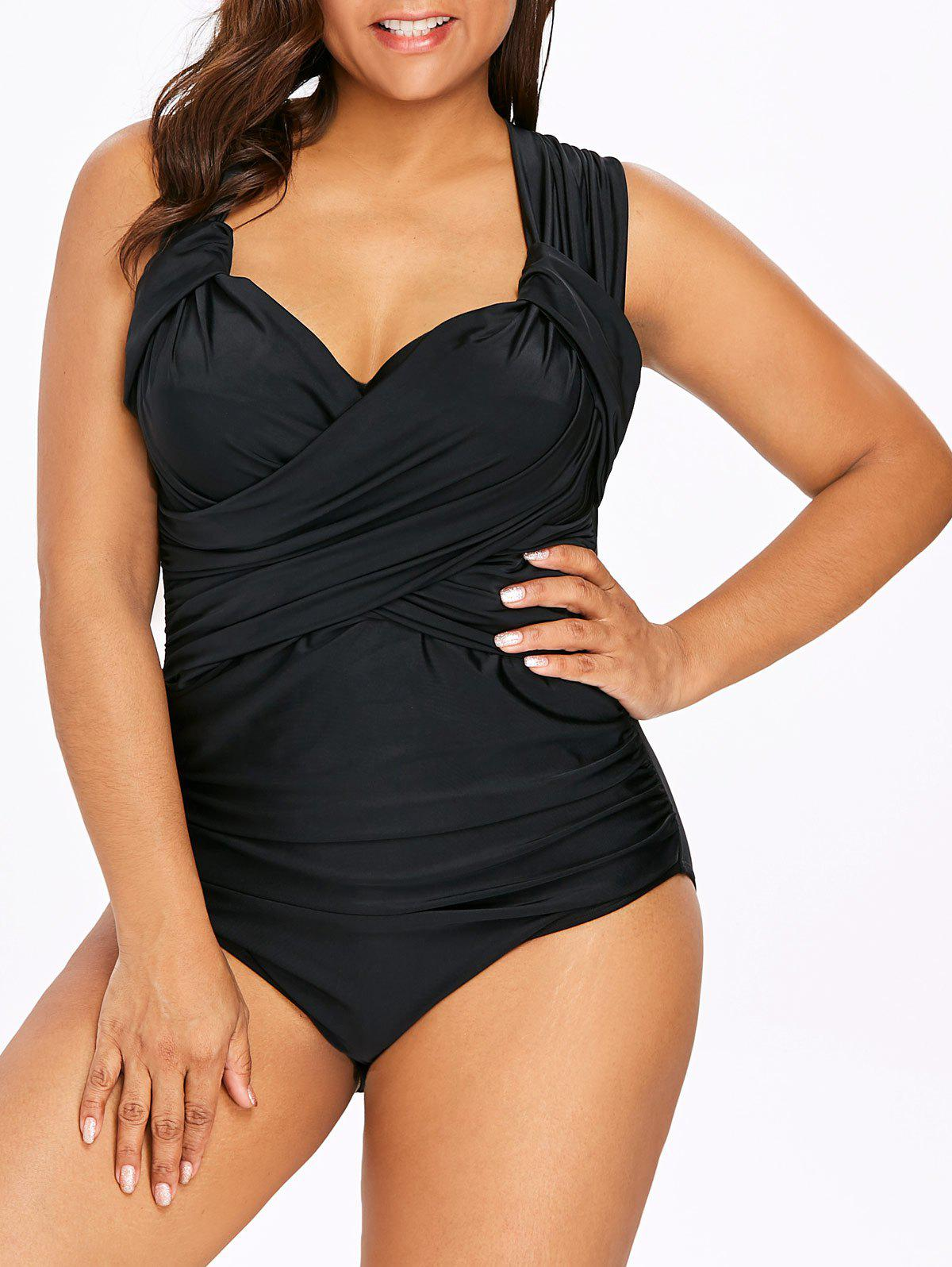 Chic Back Criss Cross Plus Size Ruched Swimwear