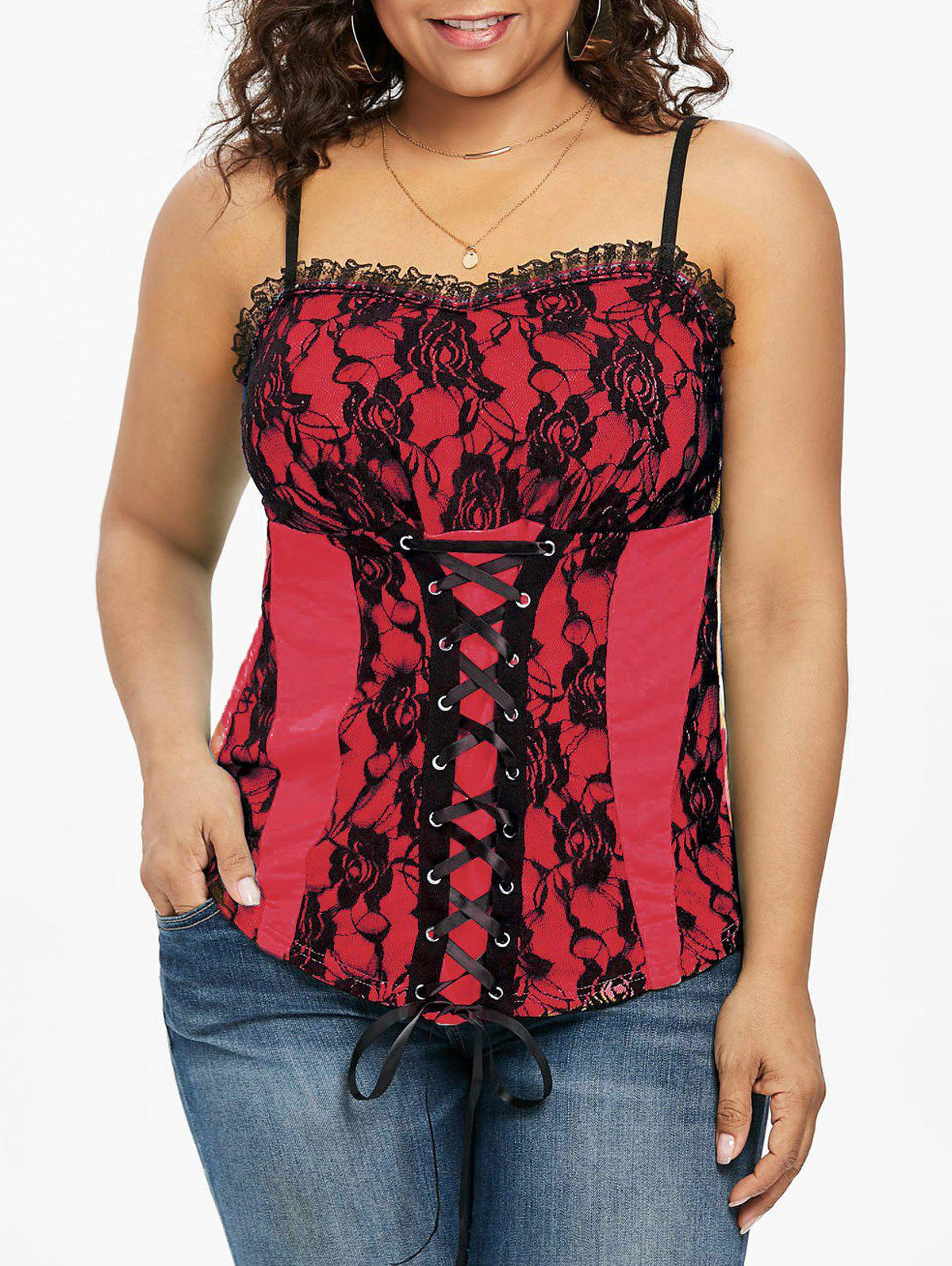 3573d45cfc2aa 2019 Plus Size Lace Up Empire Waist Tank Top