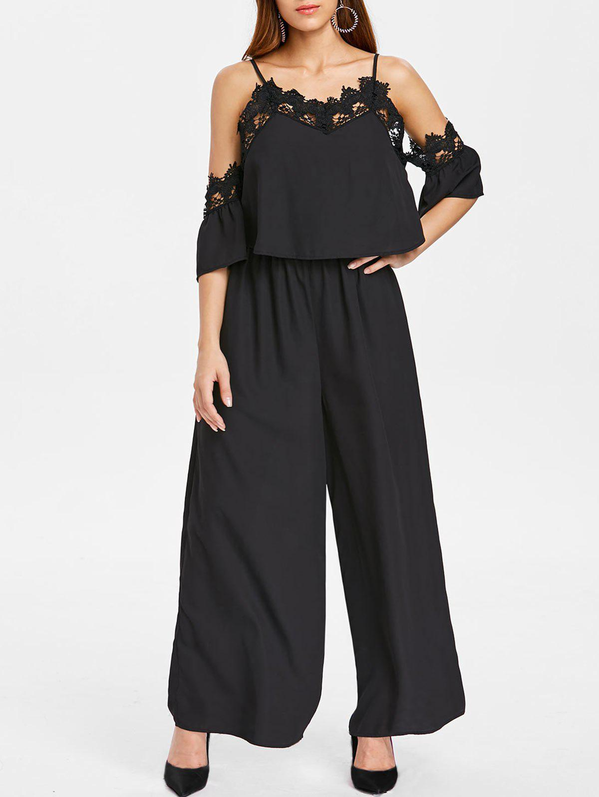 Latest Spaghetti Strap Cold Shoulder Lace Insert Jumpsuit