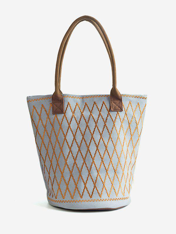 Fashion Color Block Canvas All Over Geometric Tote Bag