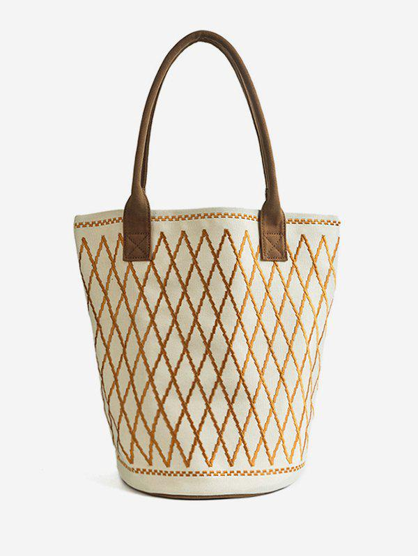 Store Color Block Canvas All Over Geometric Tote Bag
