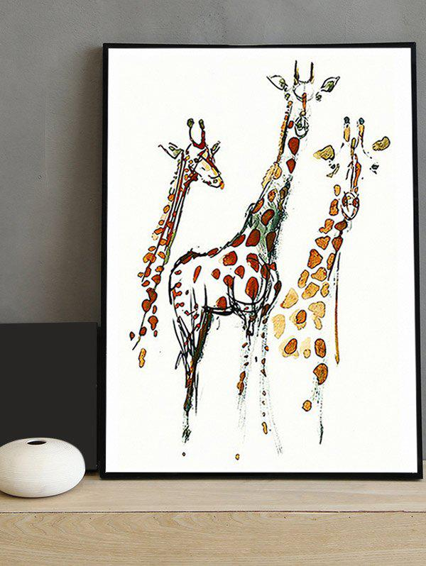 Hot Giraffe Print Canvas Painting with Frame