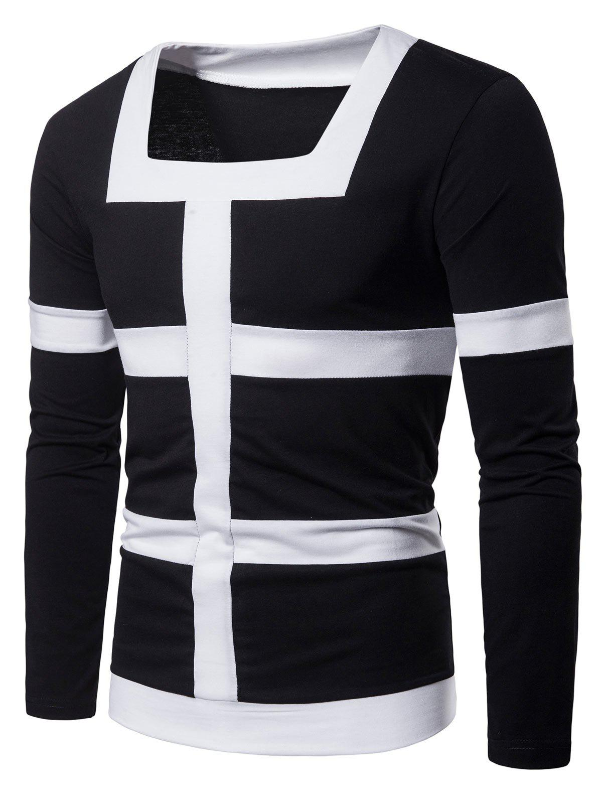 Shops Square Neck Patchwork Stripe Tee