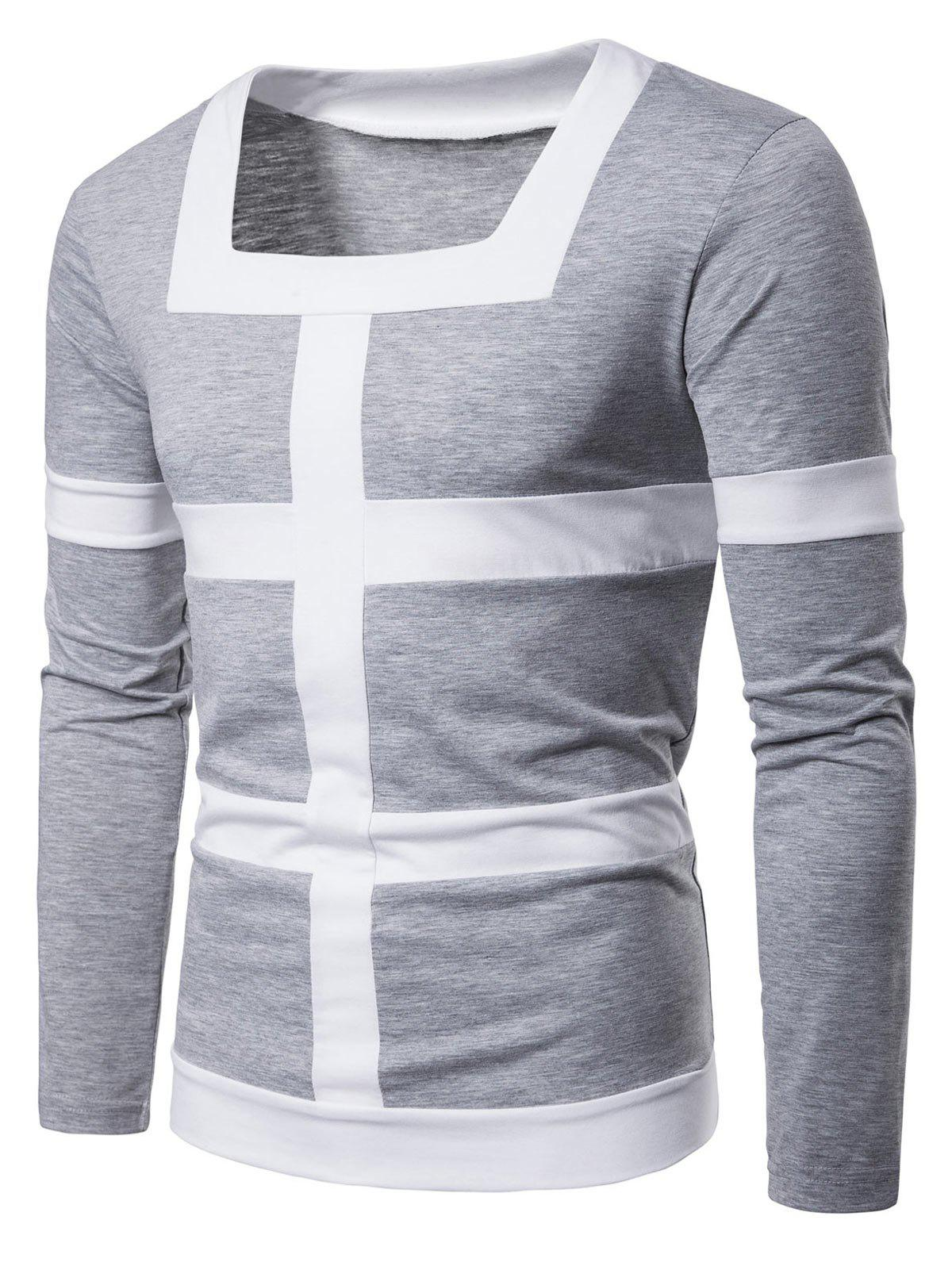 Trendy Square Neck Patchwork Stripe Tee