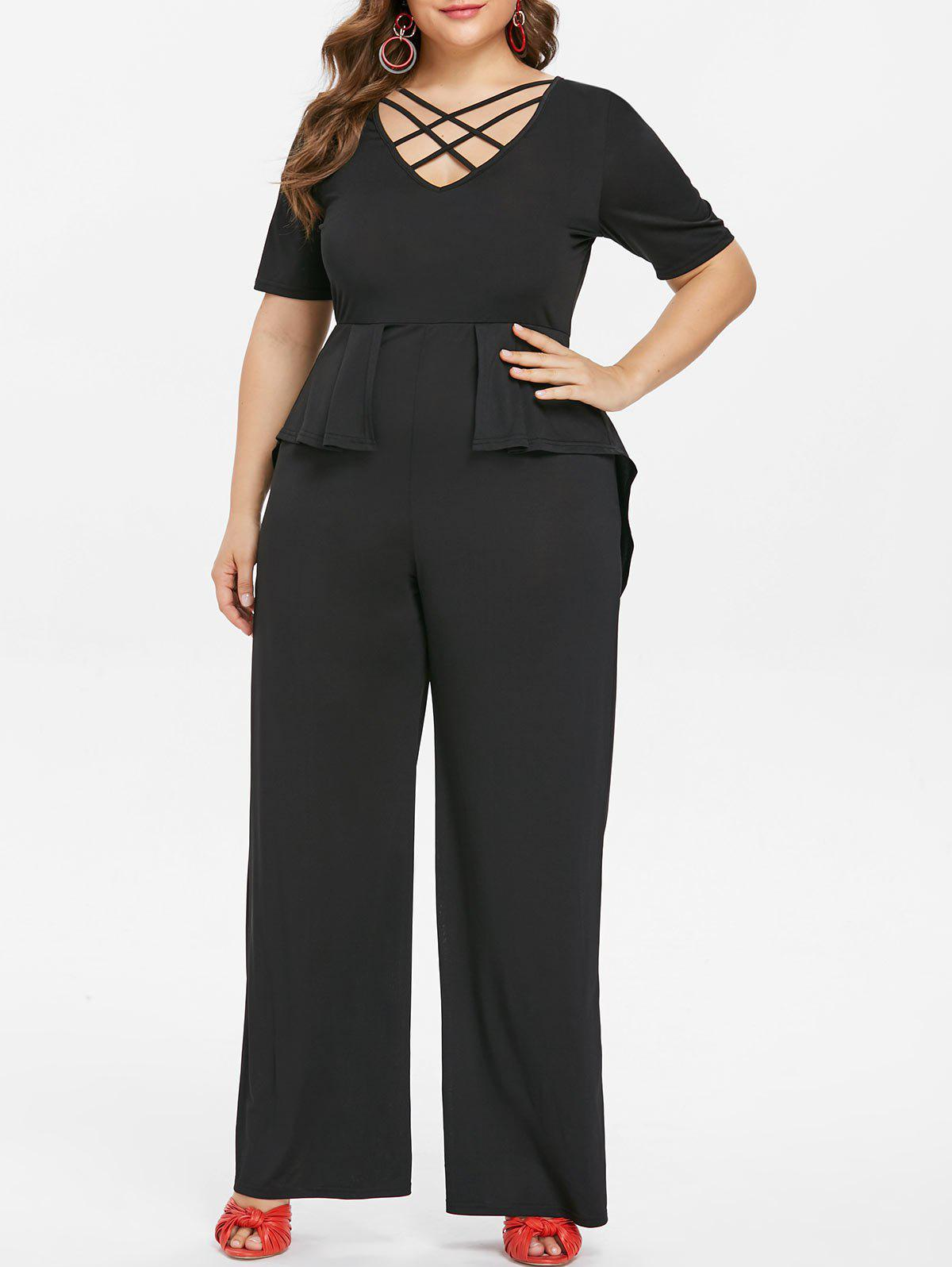 Cheap Plus Size Criss Cross Peplum Jumpsuit