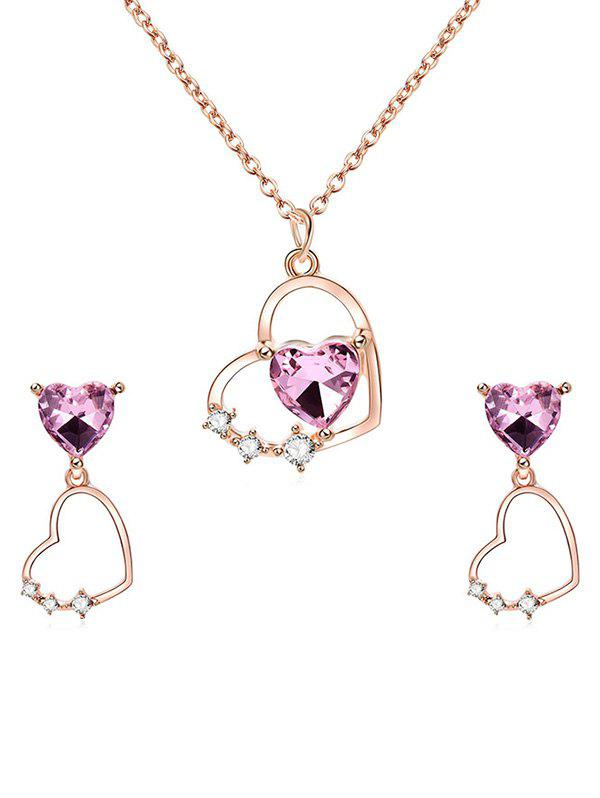 Store Rhinestone Heart Design Pendant Necklace Earrings Set