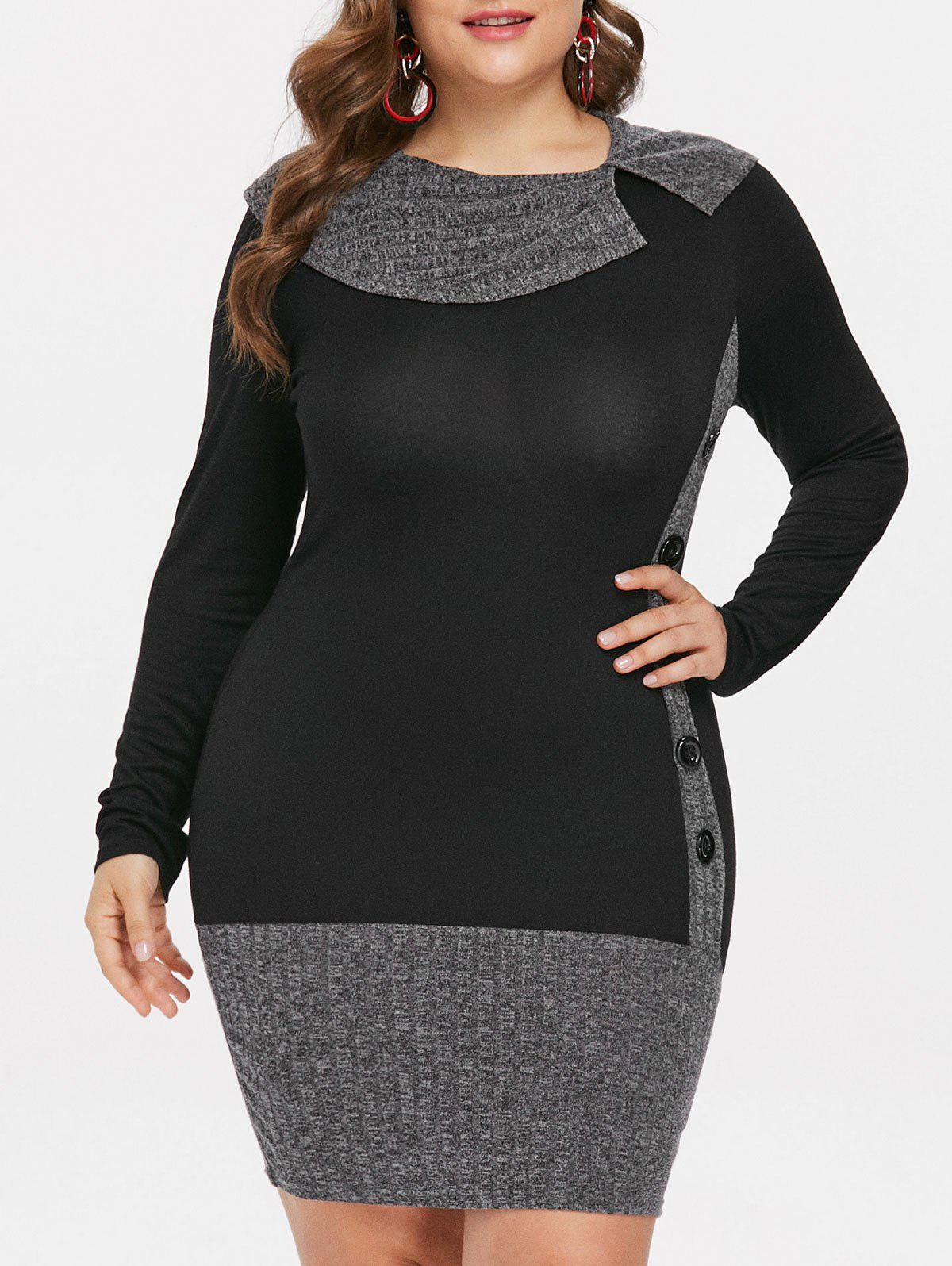 2aa2d9f76c6 36% OFF  Plus Size Button Embellished Long Sleeve Dress