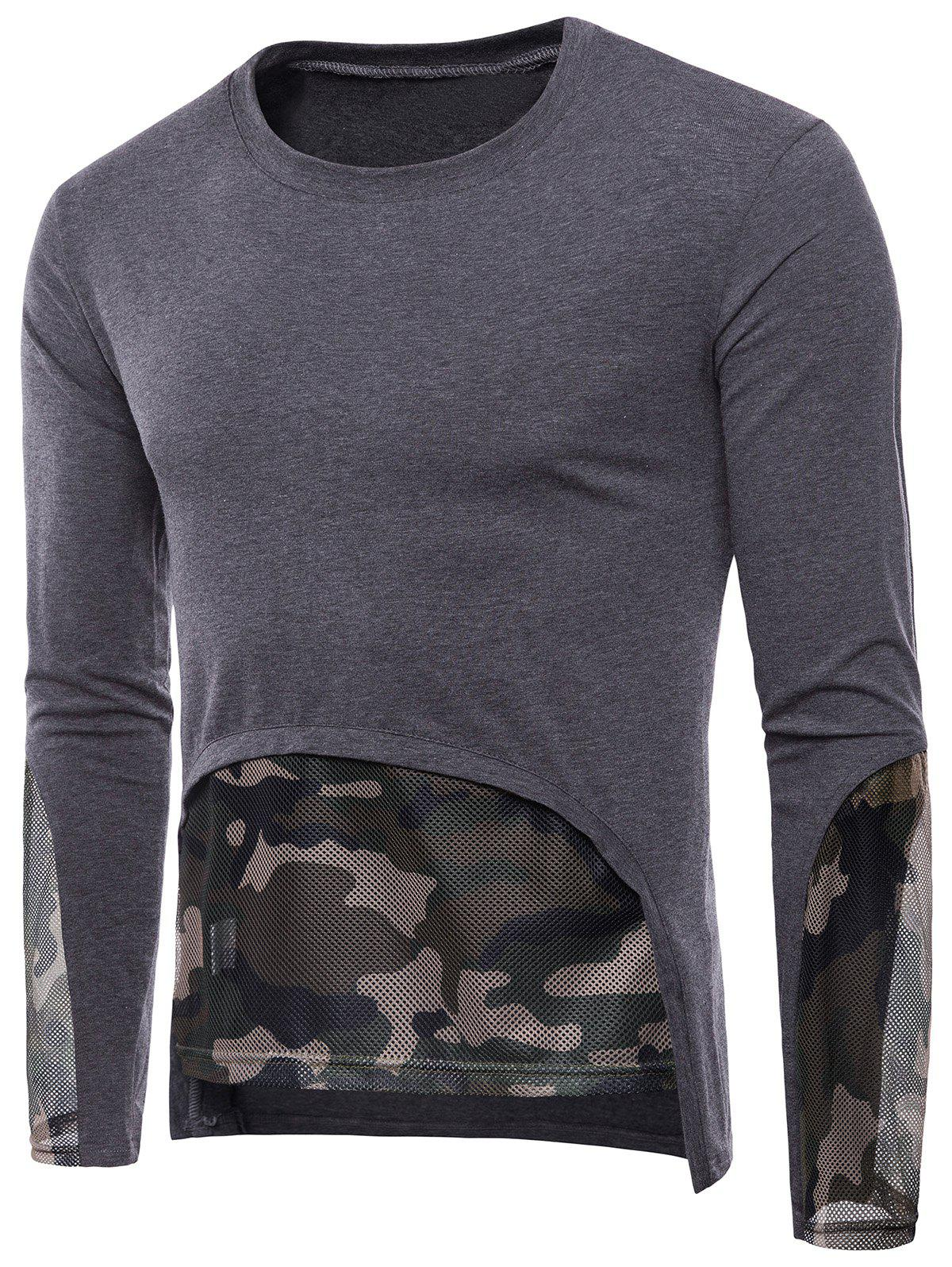Best Mesh Camouflage Hem Patchwork Low High T-shirt
