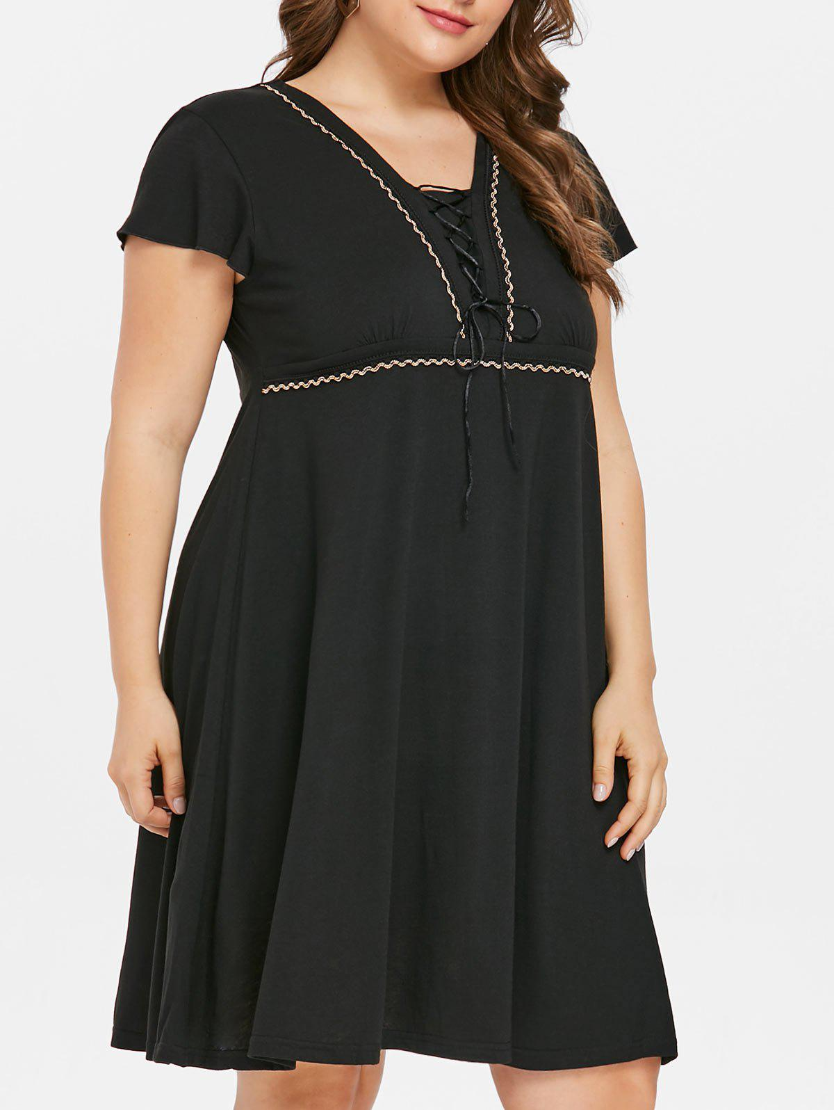 Hot Lace Up Plus Size Knee Length Dress