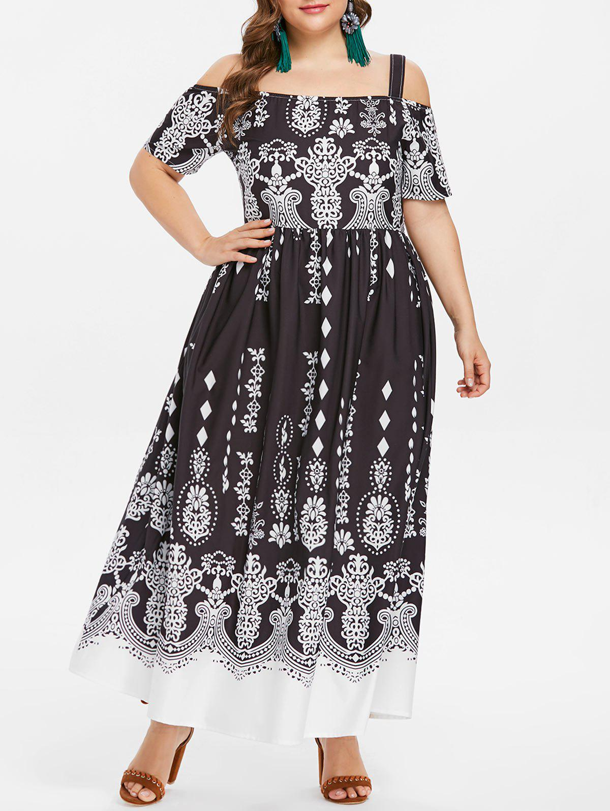 Store Cold Shoulder Plus Size Ethnic Print Maxi Dress