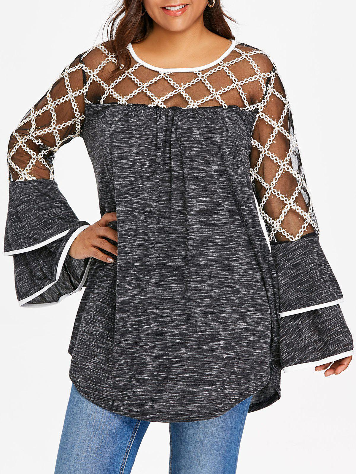Affordable Plus Size Marled Layered Flare Sleeve T-shirt