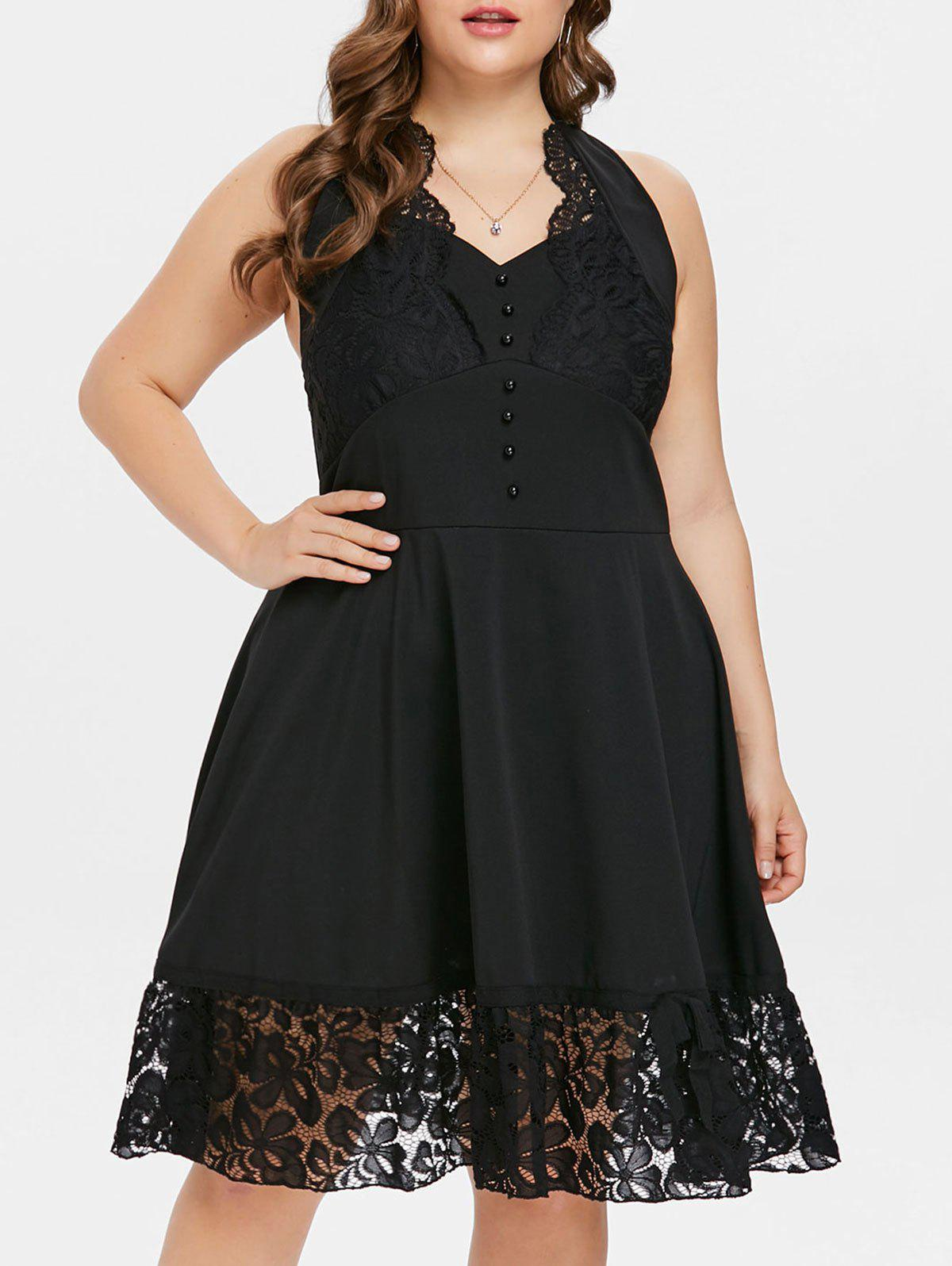 Discount Open Back Plus Size Lace Panel A Line Dress