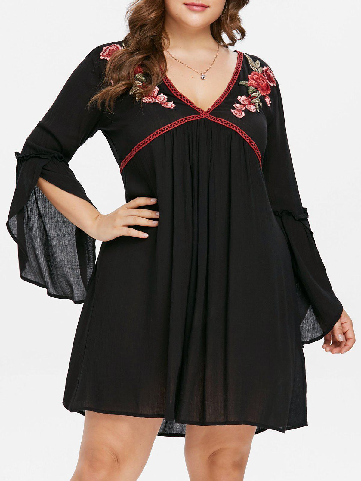 Cheap Plus Size Flare Sleeve Embroidered Mini Dress