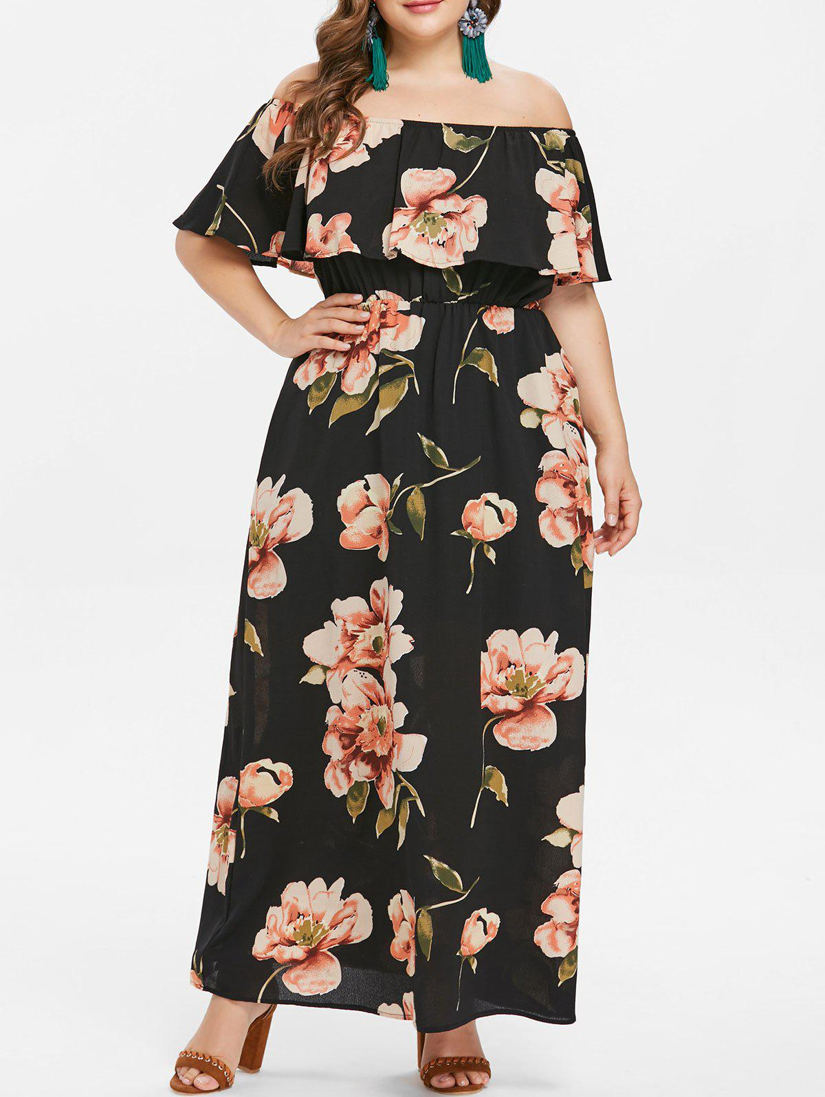 Online Plus Size Off Shoulder Flounce Maxi Dress
