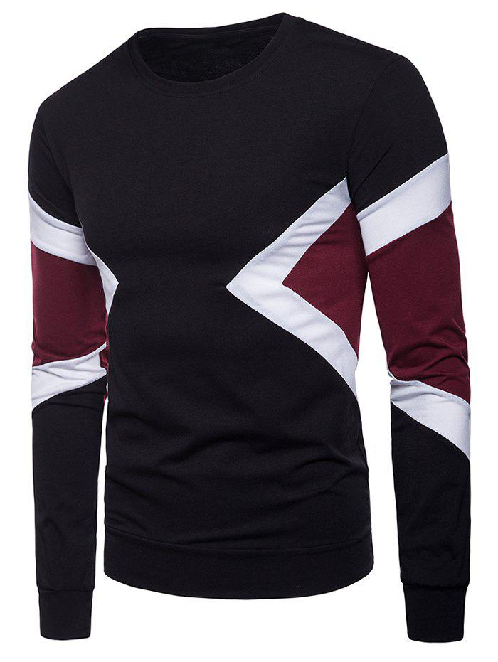 Trendy Long Sleeve Contrast Color T-shirt