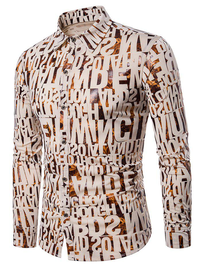 Shops Allover Letter Print Long Sleeve Shirt