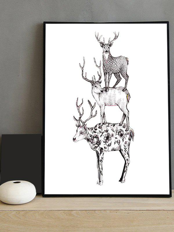 Affordable Deer Print Canvas Painting with Frame