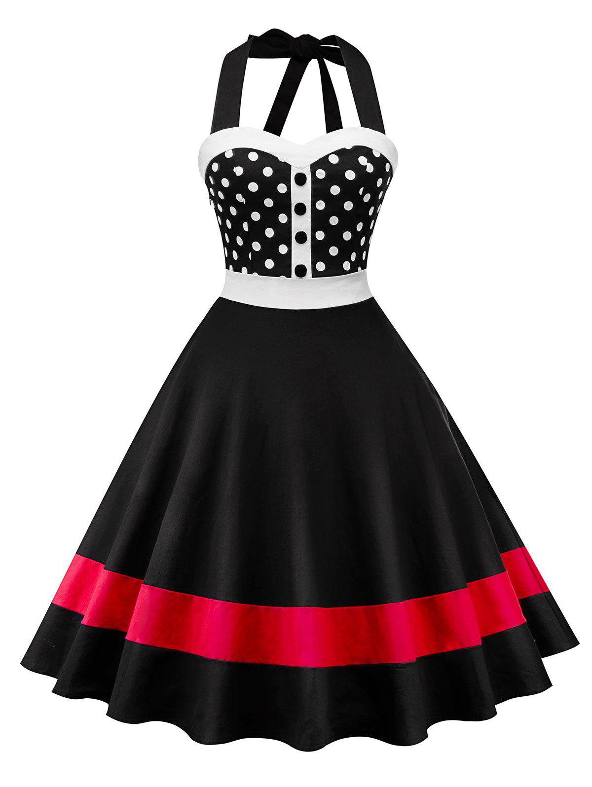 Hot Color Block Polka Dot Insert Swing Dress