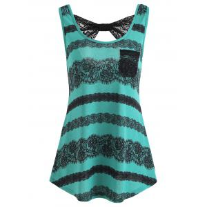 Lace Print Open Back Tank Top -