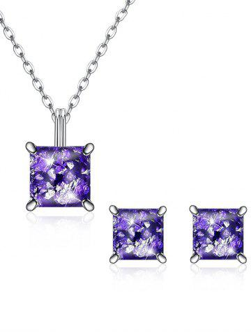 Shiny Square Crystal Inlaid Pendant Necklace Earrings Suit
