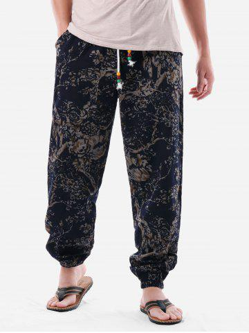 Ethnic Tree Print Elastic Waist Pants
