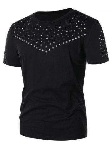 Solid Color Studded T shirt