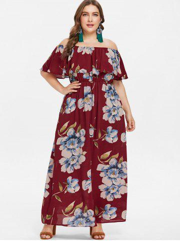 Plus Size Off Shoulder Flounce Maxi Dress