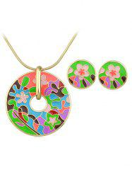 Flower Print Round Shaped Necklace Earrings Set -